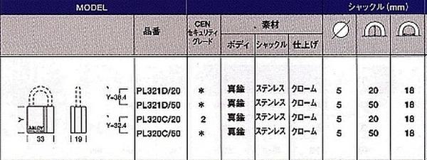アブロイ(ABLOY)南京錠 PL321D/20(50)